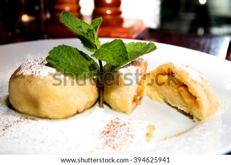 photo of apple strudel on a plate