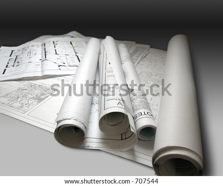 Photo of architectural building plans - stock photo