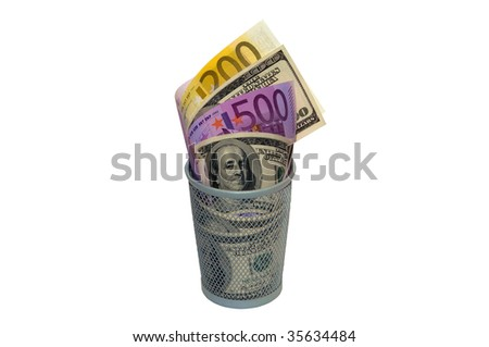Photo of basket with dollars and euros isolated over white background - stock photo