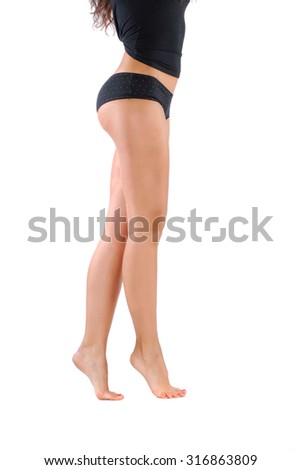 Photo of beatiful woman legs isolated on white background