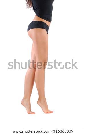 Photo of beatiful woman legs isolated on white background - stock photo