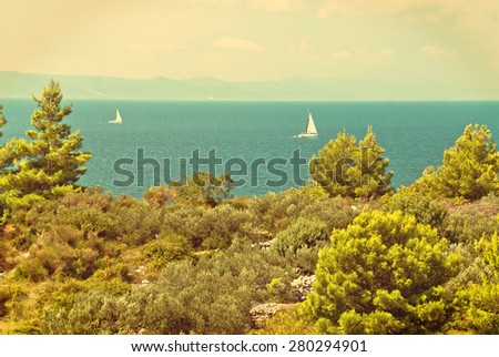 Photo of beautiful Adriatic Sea in Dalmatia, Croatia - vintage version - stock photo