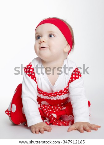 photo of beautiful happy baby on white - stock photo