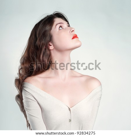 Photo of beautiful lady with long slim neck - stock photo