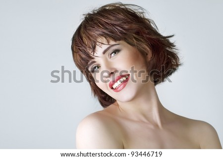 Photo of beautiful laughing woman with  short hair