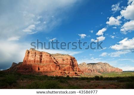 photo of beautiful scenic red sandstone rock landscape - stock photo