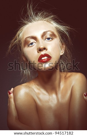 Photo of beautiful sexy woman with magnificent makeup - stock photo