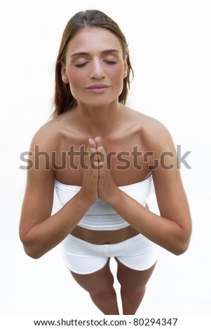 photo of beautiful woman doing yoga(with copy space) - stock photo