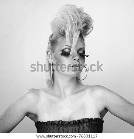 Photo of beautiful woman with magnificent hair. Black-white photo. - stock photo