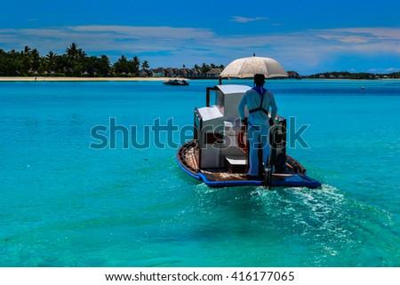 photo of beauty Maldives islands, ship - stock photo