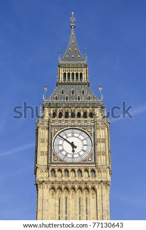 Photo of Big Ben against a blue sky