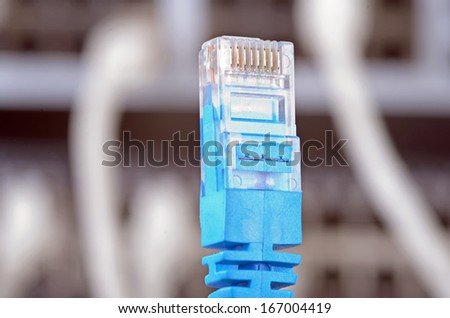 Photo of big server and wires. - stock photo