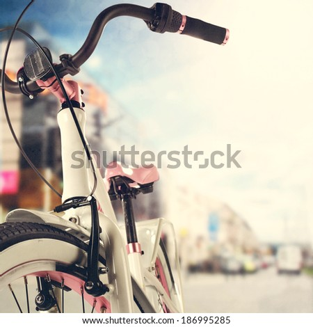 photo of bike in city  - stock photo