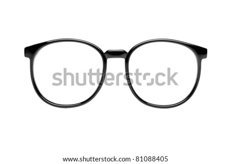 Photo of black nerd glasses isolated on white with clipping paths for the frames and lenses so you can easily put your own character in. - stock photo