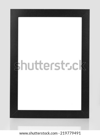 photo of black picture frame over white - stock photo