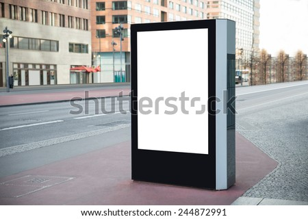 Photo Of Blank Vertical Billboard On Street - stock photo