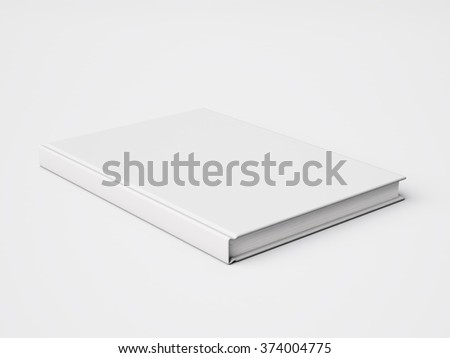 Photo of blank white book isolated on White background. 3d render - stock photo