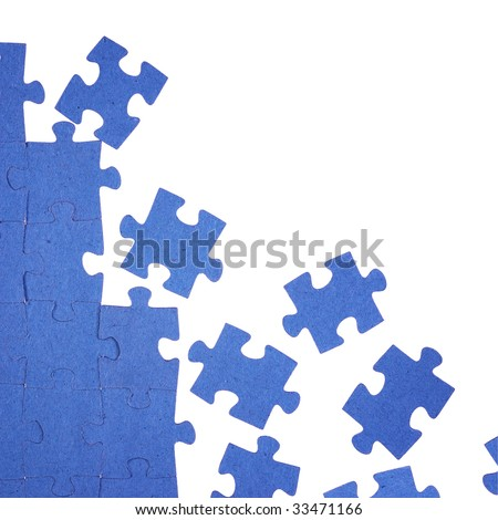 Photo of blue puzzle - stock photo