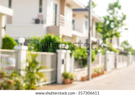photo of blurred housing estate - stock photo