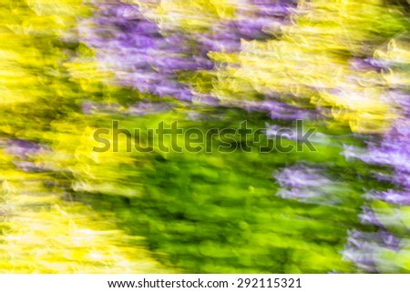 Photo of blurry abstract background of colorful summer garden photographed on long exposure with motion effect. - stock photo