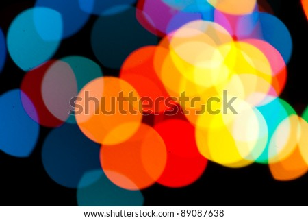 Photo of bokeh lights on black background - stock photo