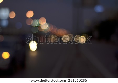 Photo Of Bokeh Lights / Street Lights Out Of Focus - stock photo