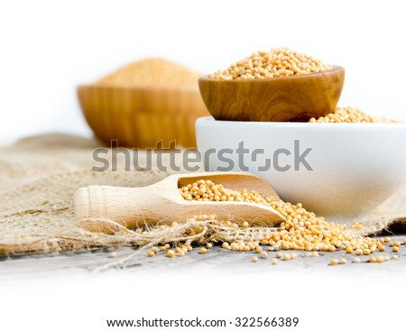 Photo of bowls and wooden spoon full of mustard seeds with white space