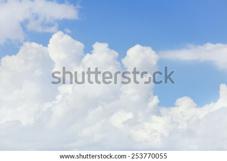 Photo of Bright Blue Cloudy Sky Background - stock photo