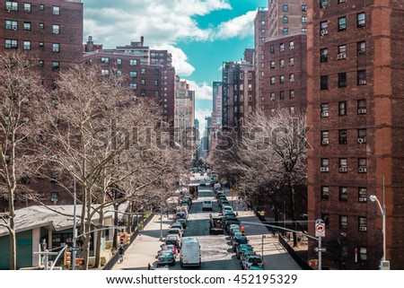 Photo of Buildings and streets near Midtown Manhattan, New York City - stock photo