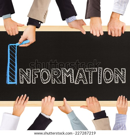 Photo of business hands holding blackboard and writing INFORMATION concept - stock photo