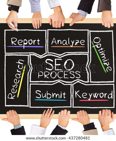 Photo of business hands holding blackboard and writing SEO PROCESS concept - stock photo