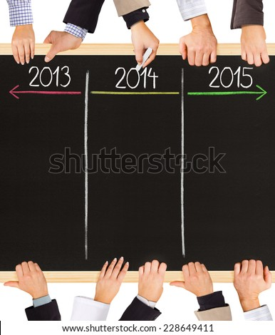Photo of business hands holding blackboard and writing timeline with 2013, 2014 and 2015 years - stock photo