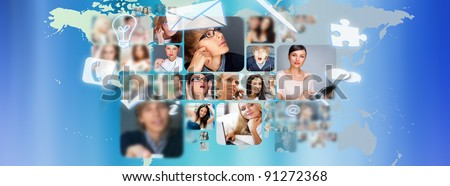 Photo of business people are glowing at world map. International business communication concept - stock photo