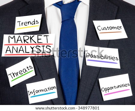 Photo of business suit and tie with MARKET ANALYSIS concept paper cards - stock photo