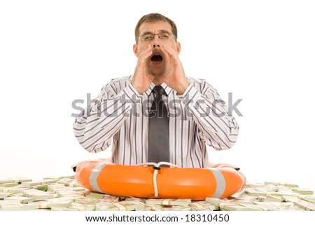 Photo of businessman keeping his hand by mouth and asking for help - stock photo