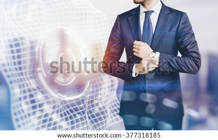 Photo of businessman wearing suit and visual interfaces effects on screen. Blurred, horizontal - stock photo