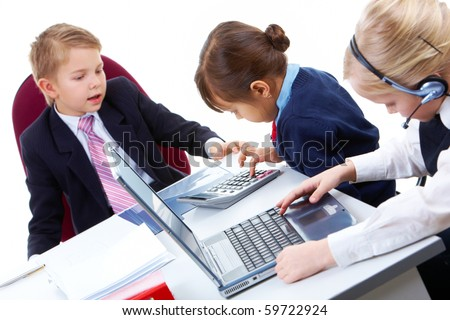 Photo of busy girls and serious boss interacting at meeting - stock photo