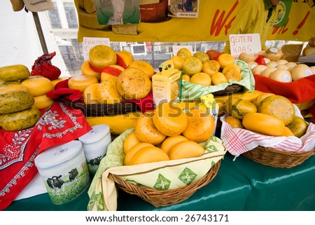 Photo of Cheese on market in Alkmaar Holland - stock photo