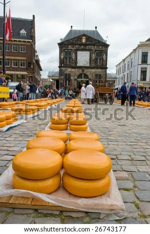 Photo of Cheese on market in Alkmaar Holland - stock photo