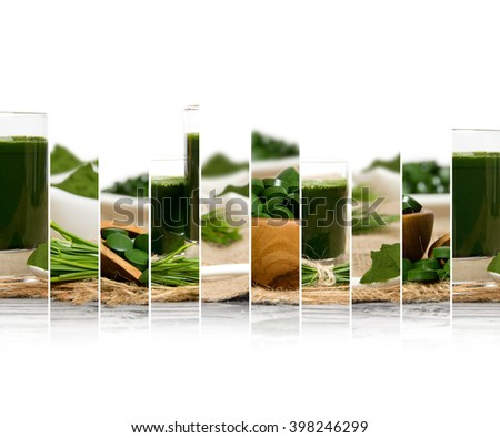 Photo of chlorella and young barley grass abstract mix slices; healthy eating, dieting and detoxication concept; white space for text - stock photo