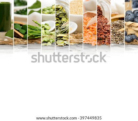 Photo of chlorella, berries and seeds abstract mix slices; healthy eating, dieting and detoxication concept; white space for text - stock photo