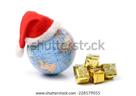 Photo of Christmas world and gifts for celebrating Christmas around the world - stock photo