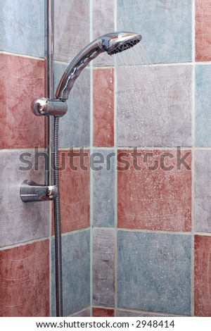 Photo of chrome metal shower.