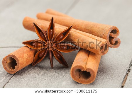 Photo of cinnamon sticks and star anise over wooden table  - stock photo