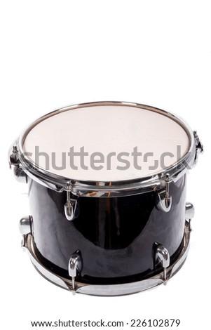 photo of classic black music bass drum  on white background - stock photo