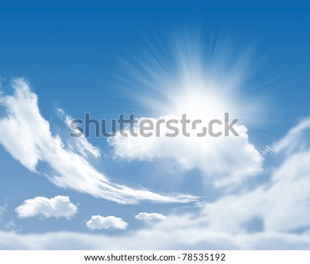 Photo of clouds and sun in the background of a beautiful blue sky