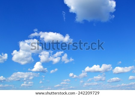 Photo of clouds on blue sky - stock photo