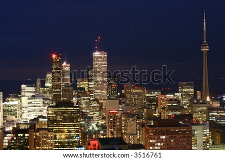 photo of CN-tower and downtown area in Toronto, canada (night panorama) - stock photo