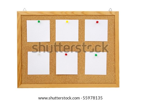 photo of collection of various note papers on cork board - stock photo