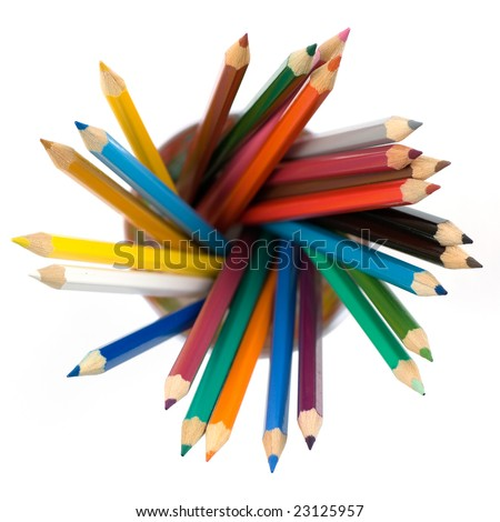 Photo of color pencils in a painted plastic cup. - stock photo
